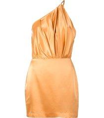 michelle mason one shoulder silk dress - gold