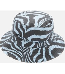 ganni women's printed cotton poplin bucket hat - forever blue - m/l