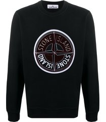 stone island long-sleeved embroidered logo sweater - black