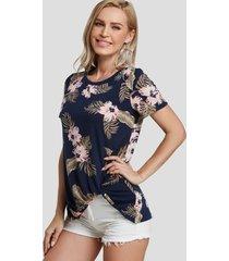 camiseta cuello redonda con estampado floral aleatorio twist azul oscuro
