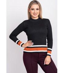 sweater con franja negro 609 seisceronueve