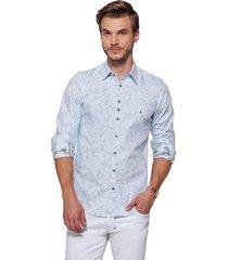 camisa fit zaiko masculina estampada manga longa azul (1686azul)