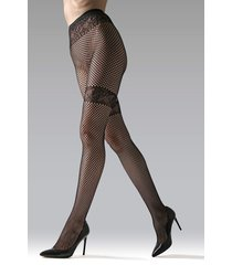natori geo net tights, women's, black, size l natori