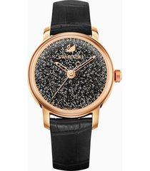 orologio crystalline hours, cinturino in pelle, nero, pvd oro rosa