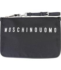 moschino designer men's bags, black nylon clutch w/logo and detachable wristlet