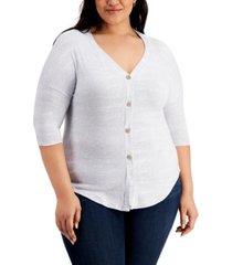 belldini plus size button-front knit top