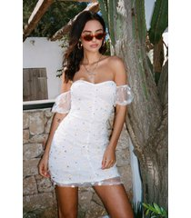 womens put a spring on it embroidered puff sleeve dress - white