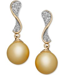 14k gold earrings, cultured golden south sea pearl (10mm) and diamond (1/4 ct. t.w.) wave earrings