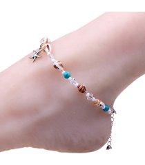 cavigliere della stella marina della boemia catena di perline naturale sandali a piedi nudi sandali di spiaggia per gioielli da donna