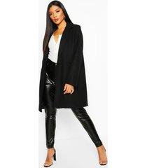 getailleerde nepwollen jas, black