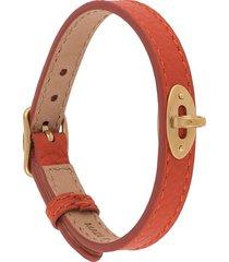 mulberry bayswater thin 10mm leather bracelet - orange