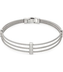 14k white gold, stainless steel & diamond 3-row bracelet