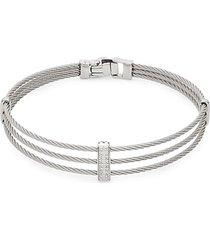 14k white gold, stainless steel & diamond 3-row bracelet