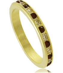 anel fino com cristal branco e preto 3rs semijoias dourado