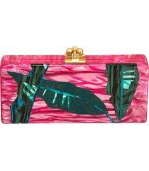 pink palm print clutch