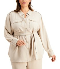 calvin klein plus size belted utility tunic