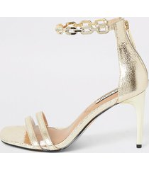river island womens gold chain ankle barely there heeled sandals