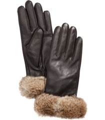 surell leather gloves with rabbit fur cuff