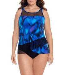 plus size women's miraclesuit nuage bleu mirage swim top, size 22w - blue