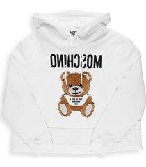 moschino teddy bear cropped hoodie