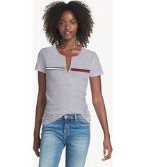 tommy hilfiger women's essential split-neck t-shirt grey heather - xl