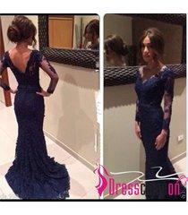sheath v neck long sleeve low back lace dark navy evening dress lace prom dress