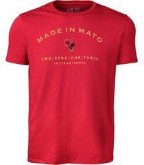 camiseta estampada made in mato vinho multicolorido - kanui