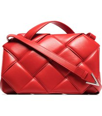 bottega veneta oversized leather shoulder bag - red