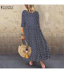 zanzea ocasional de las mujeres del club de vacaciones de playa maxi kaftan vestido de tirantes polka dot vestido largo -azul marino