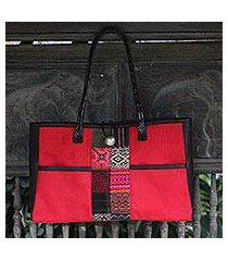 cotton shoulder bag, 'tribal crimson' (thailand)