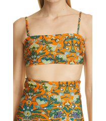 women's la doublej three-way bandeau bikini top, size large - orange