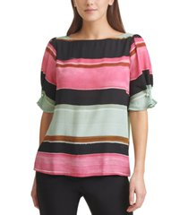 dkny colorblocked faux-pearl-trim elbow-sleeve top