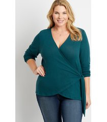 maurices plus size womens 24/7 solid cozy tie wrap long sleeve tee green