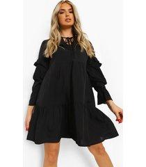 gesmokte jurk met ruches en hals strik, zwart