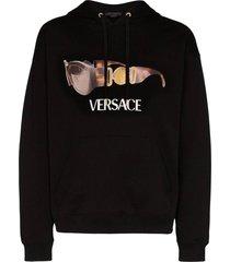 sunglass logo print hoodie