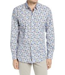 men's bugatchi shaped fit dot print button-up shirt, size xxx-large - blue