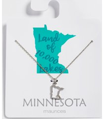 maurices womens dainty minnesota state necklace gray