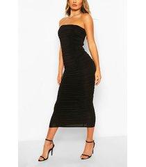 bandeau ruched maxi dress, black