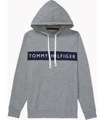 tommy hilfiger men's modern essentials signature hoodie grey heather - m