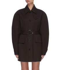 puff sleeve triangle buckle belted trench coat