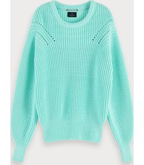scotch & soda cotton-blend chunky knit long sleeve sweater