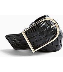 black wide weave belt - black