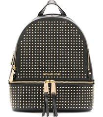 michael michael kors studded zip-up backpack - black