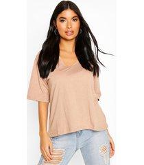 petite oversized v-neck t-shirt, stone