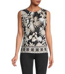 calvin klein women's botanical-print sleeveless top - black - size xl