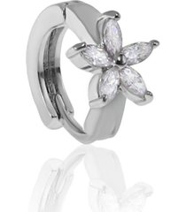 piercing de furo piuka argola p flor navete zircã´nia prata - incolor - feminino - dafiti