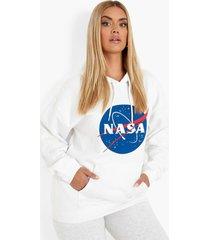 plus nasa hoodie, white