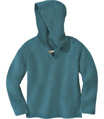 gebreide pullover met capuchon van bio-katoen, turkooisblauw 134/140