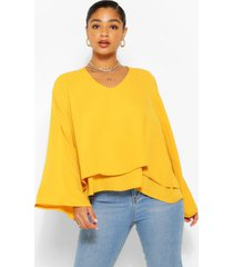 plus double layer v neck swing blouse, mustard