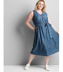 lane bryant women's sleeveless chambray midi dress 28 chambray